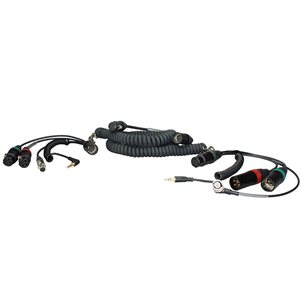 Ambient Recording Coiled mixer / camera loom, 2x XLR-3F + 3.5 mm TRS + HBY7-5