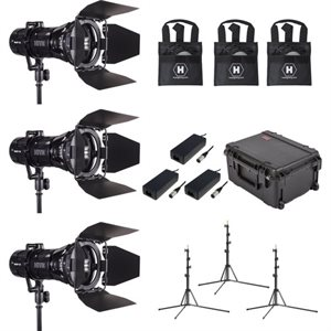 3 Light Kit w /  1-BEE 50-C PAR SPOT, 1-WASP 100-C PAR SPOT, 1-HORNET 200-C FRESNEL w /  3 Stands and Case (Custom Foam)