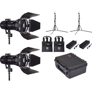 WASP 100-C LED Spot 2 Light Kit w / 2 Stands and Case (Custom Foam)