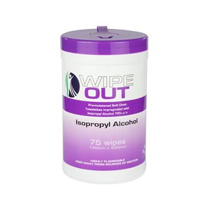 Wipe Out 70% Isopropyl Alcohol Wipes - 75 Wipes per Tub
