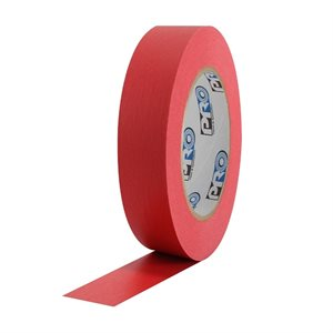 """PRO Tape Pro 46 Red Colored Crepe Paper Masking Tape 1"""" 54m / 60YRD - 3"""" Core"""