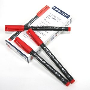 STAEDTLER LUMOCOLOR PERMANENT MARKER RED