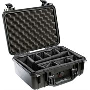 PELICAN # 1450 CASE WITH PADDED DIVIDERS - BLACK